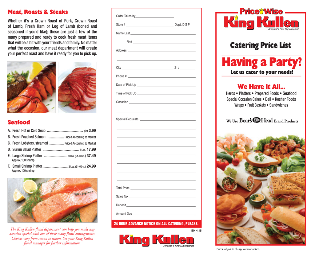 King Kullen Catering Party Platters Long Island NY