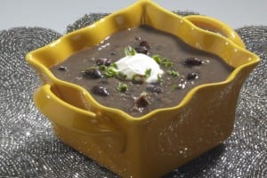 Black Bean & Shredded Pork Soup – Consisting of black beans, shredded pork, and spices. Serve with sour cream, salsa and shredded cheddar cheese on top.