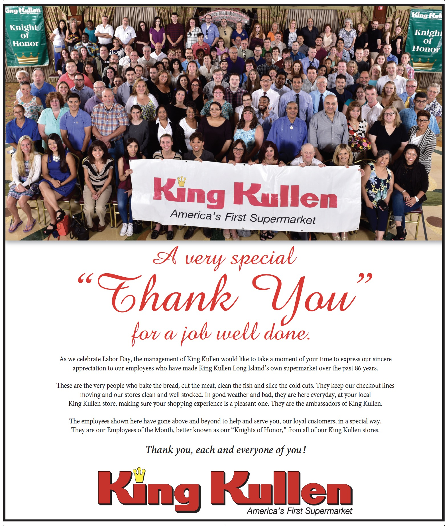 King Kullen Thanks Employees for a Job Well Done King Kullen