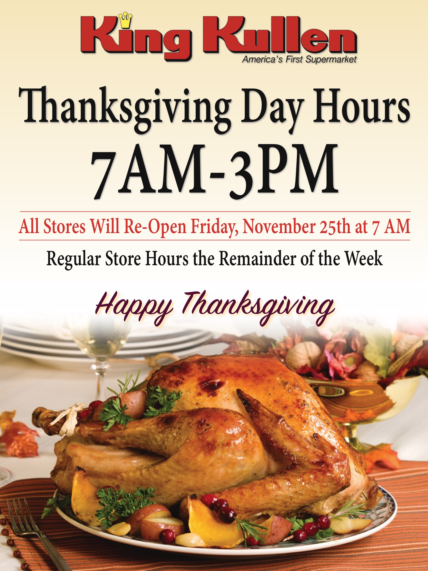 Thanksgiving 2016 Store Hours King Kullen