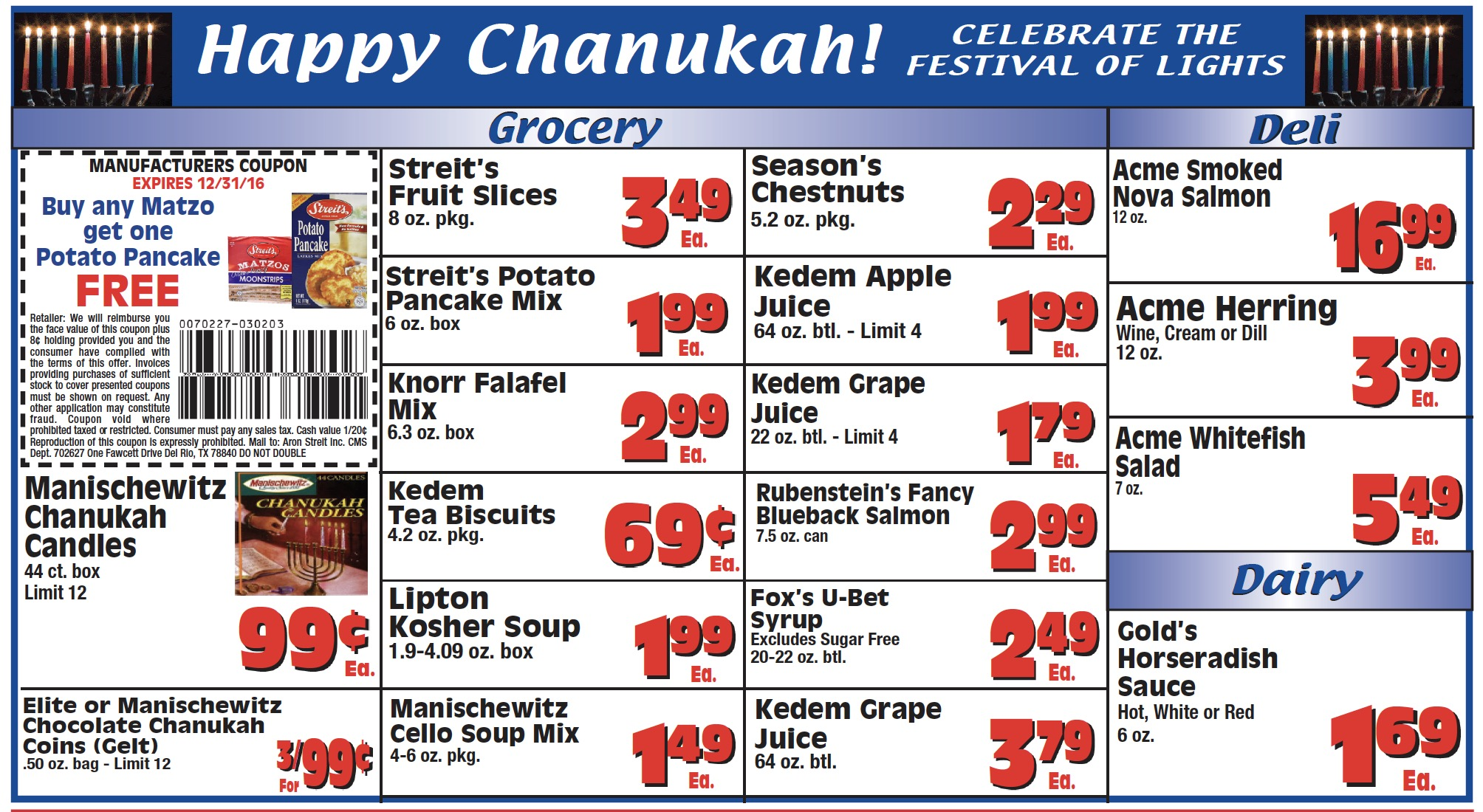 Chanukah Catering and Sales King Kullen