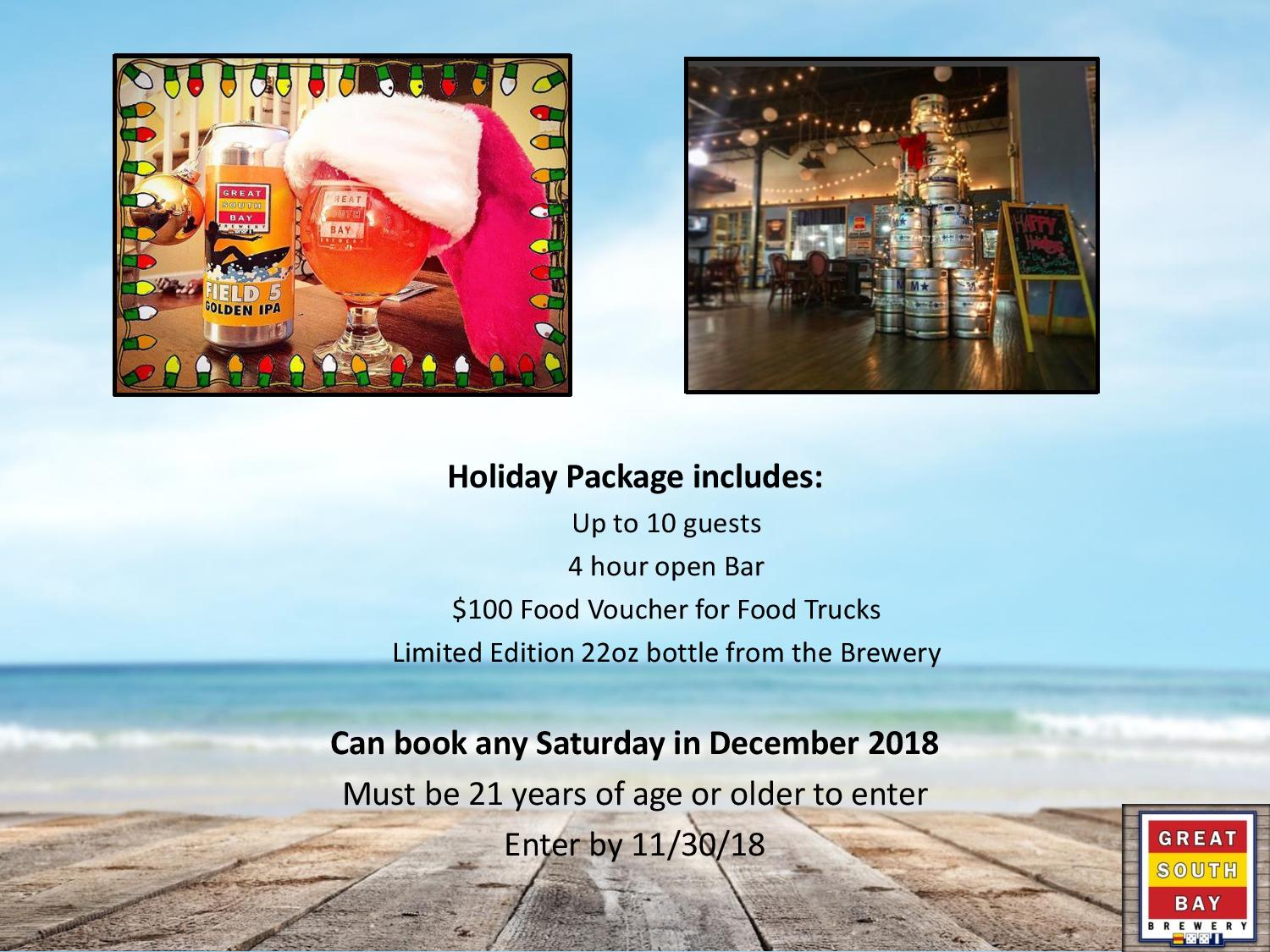 Win a Holiday Party from Great South Bay Brewery